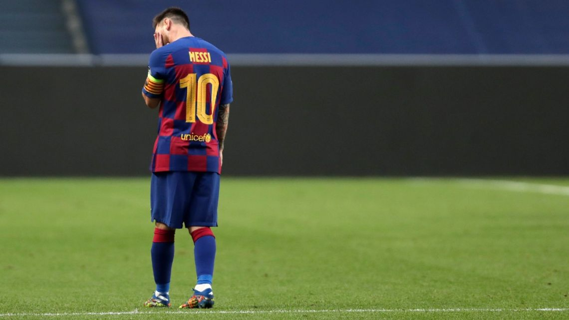 Lionel Messi reacts after Bayern Munich's second goal during the UEFA Champions League quarter-final at the Luz stadium in Lisbon on August 14, 2020.