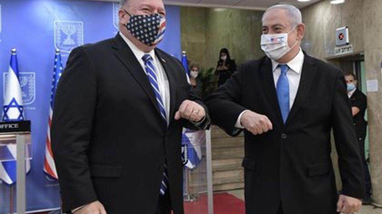 Mike Pompeo, secretario de Estado estadounidendse con el primer ministro israelí, Benjamín Netanyahu. | Foto:CEDOC