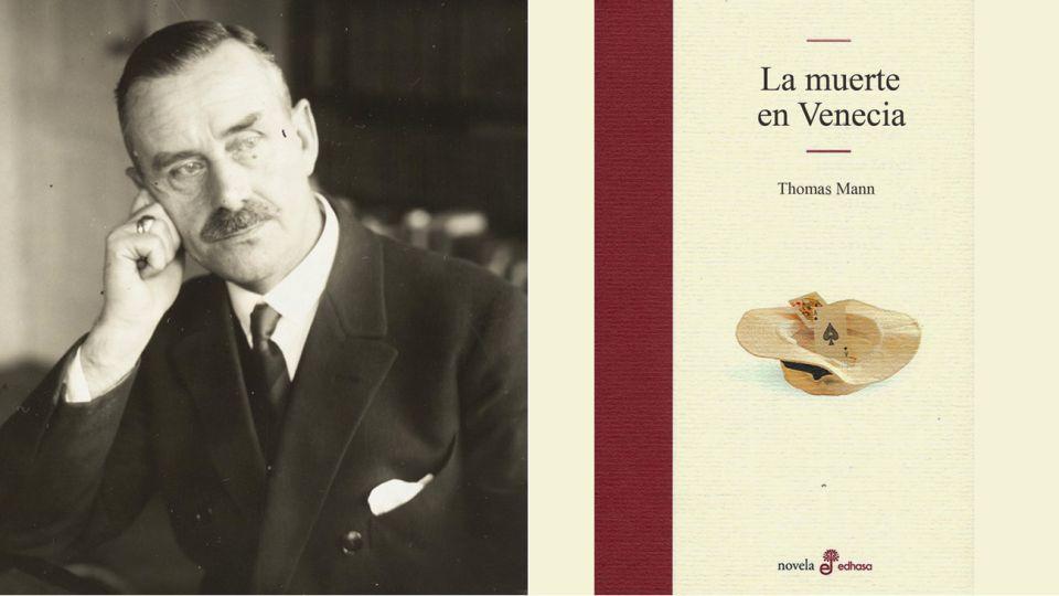 Thomas Mann y tapa de su libro Muerte en Venecia 20200825