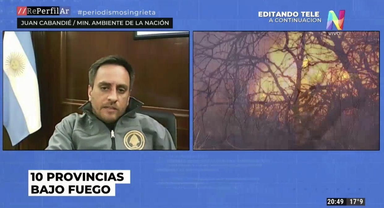 Cabandié se refirió a los costos económicos de los incendios forestales