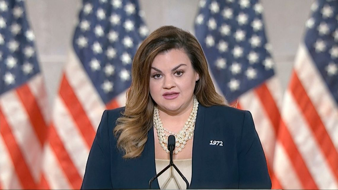 In this image from video, Abby Johnson speaks from Washington, during the second night of the Republican National Convention on Tuesday, August 25, 2020.