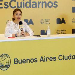 Soledad Acuña, ministra de Edicación porteña, en conferencia por la disputa con Nación por el regreso a las aulas.   Foto:CEDOC