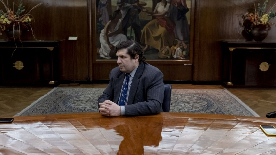 Sergio Chodos listens during an interview with Bloomberg in Buenos Aires, on August 27, 2020.