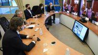 Una postal de la videoconferencia del presidente Alberto Fernández con gobernadores en Olivos.