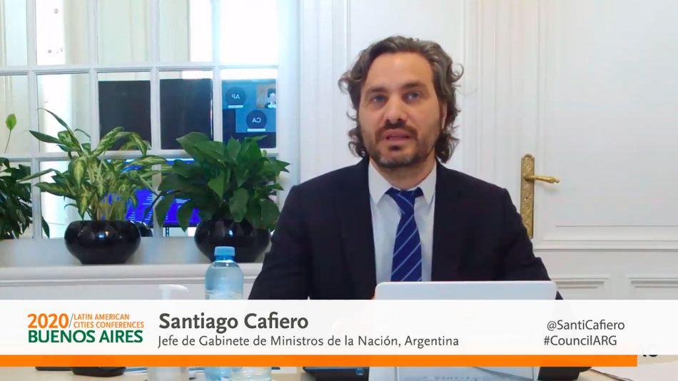 Santiago Cafiero, en el Council of Americas 2020.