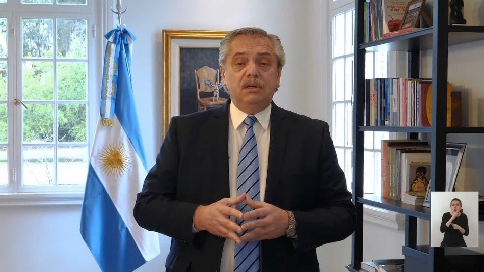 Alberto Fernández durante el anuncio de la nueva flexibilización de la cuarentena.