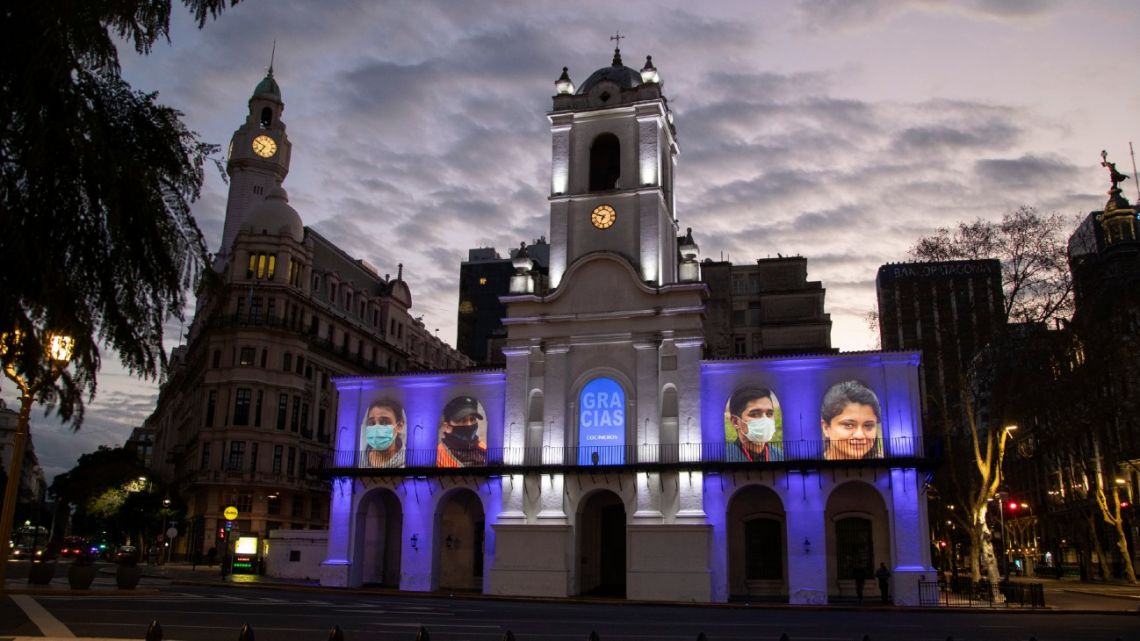 Portraits of essential workers during coronavirus pandemic are projected in the facade of the historic Cabildo of Buenos Aires, by initiative of the Culture Ministry as an homage for their commitment on August 29, 2020.