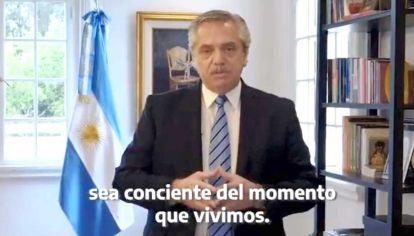 Mutación. El viernes, el Presidente se limitó a un breve video por la cuarentena.