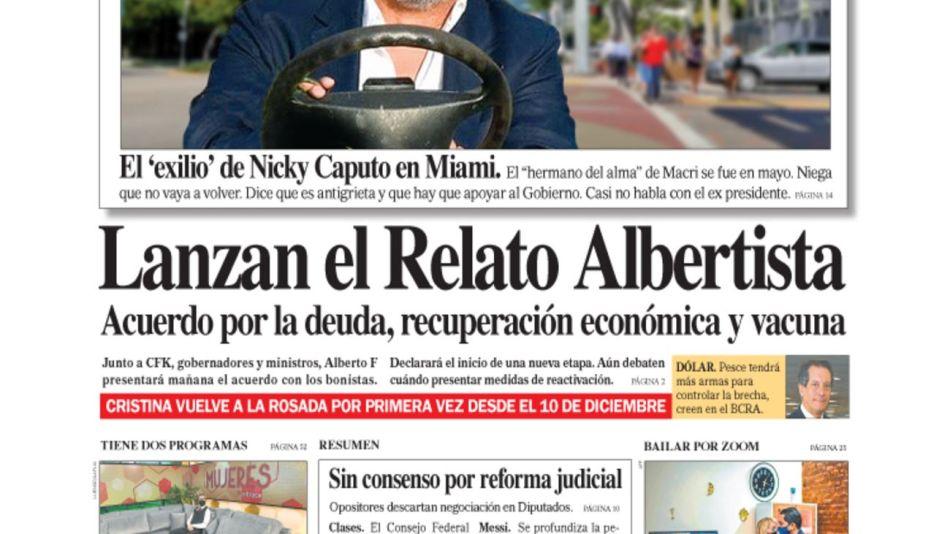 La tapa de Diario PERFIL de este domingo 30 de agosto de 2020