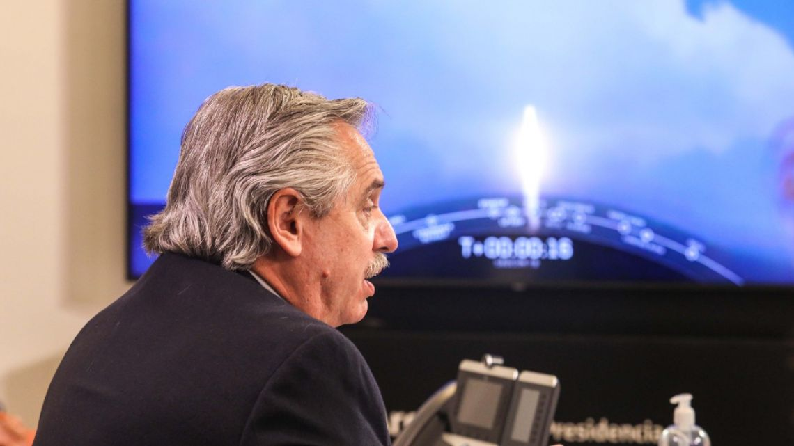 President Alberto Fernández watches the launch of the Saocom1B satellite on Sunday.