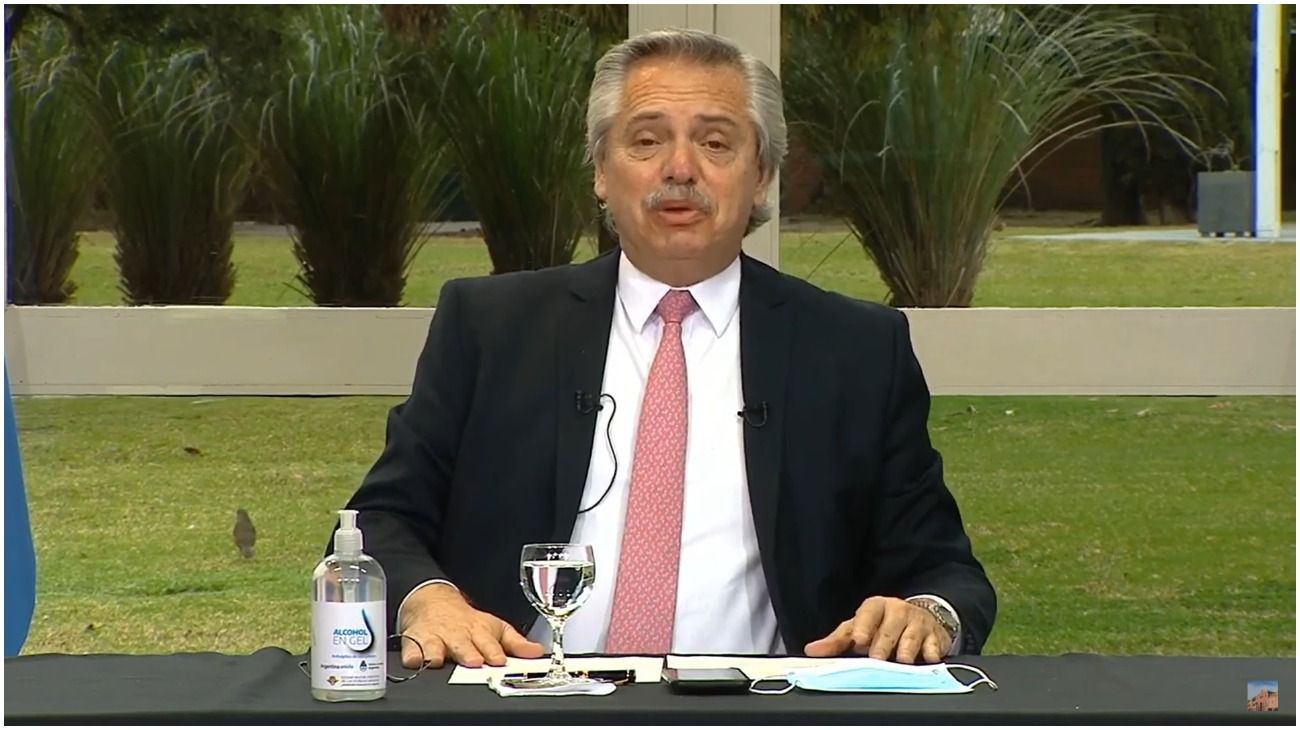 El presidente Alberto Fernández, desde la Quinta de Olivos.