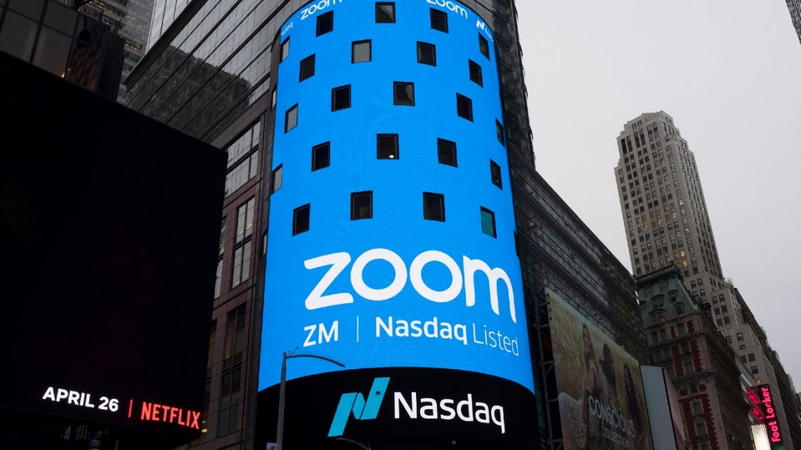 A sign for Zoom Video Communications ahead of the company's Nasdaq IPO in New York.