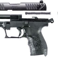 Despiece básico de una Walther P-22, en el que se observa el cañón fijado al armazón y el resorte recuperador con su guía, que se coloca paralelo a él y por debajo.