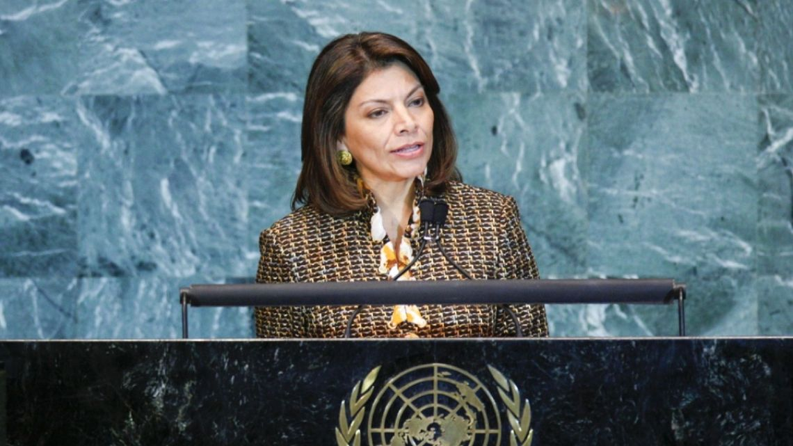 Laura Chinchilla, former president of Costa Rica, speaks during the 65th annual United Nations General Assembly at the UN in New York, US, on Thursday, September 23, 2010.