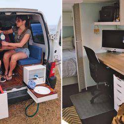 Algunos motorhomes vienen equipados como oficina rodante, ideal para actividades al aire libre. El camper de la izquierda es chiquito, pero no le falta nada para una salida en familia.