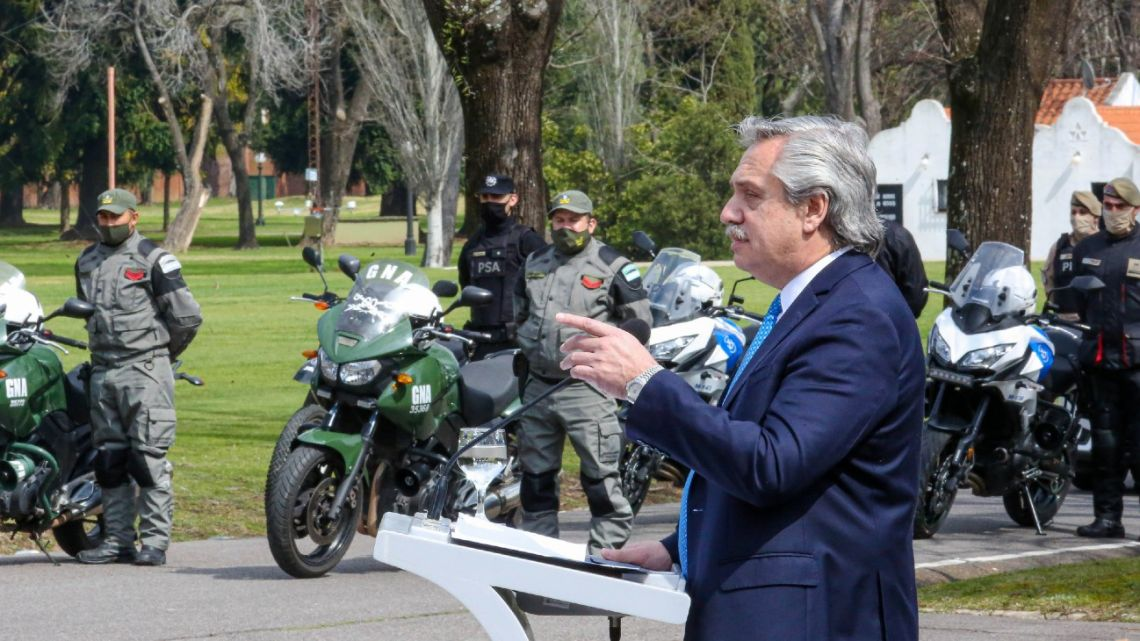 President Alberto Fernández heads a crime and security event for the press at the Olivos presidential residence.