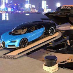 El yate cuenta con una especie de bodega capaz de transportar hasta un auto. Ya de por sí, la embarcación incluye un deportivo de la exclusiva marca Bugatti.