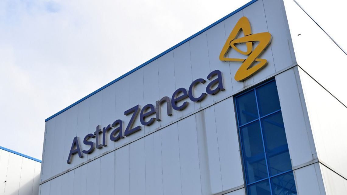 In this file photo taken on July 21, 2020, a general view is pictured of the offices of British-Swedish multinational pharmaceutical and biopharmaceutical company AstraZeneca PLC in Macclesfield, Cheshire.