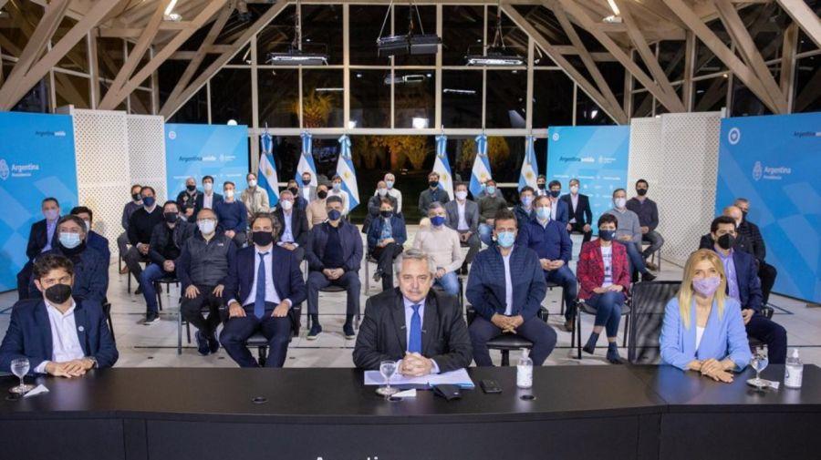 El presidente Alberto Fernández durante el anuncio de este jueves en Olivos. Foto: Cedoc.