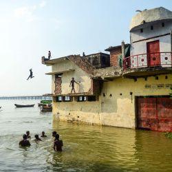 Jóvenes de un área de bajos ingresos saltan al río Ganges desde una casa sumergida en el área de Jushi de Allahabad a medida que aumenta el nivel del agua de los ríos Ganges y Yamuna, en Allahabad. | Foto:SANJAY KANOJIA / AFP