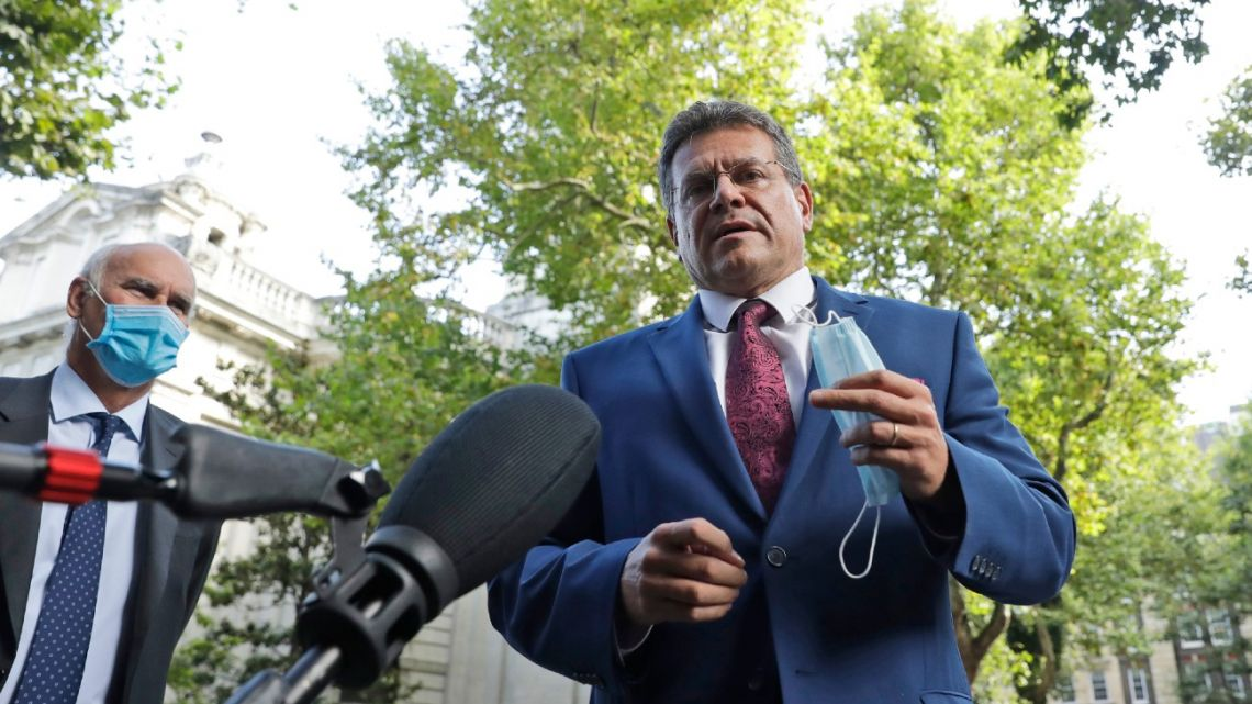 European Commission Vice President Maros Sefcovic addresses the media as he arrives at the Europa house in London, Thursday, September 10, 2020.