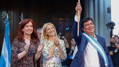 Cristina Fernández de Kirchner, Verónica Magario y Fernando Espinoza en un acto en La Matanza en diciembre de 2019.