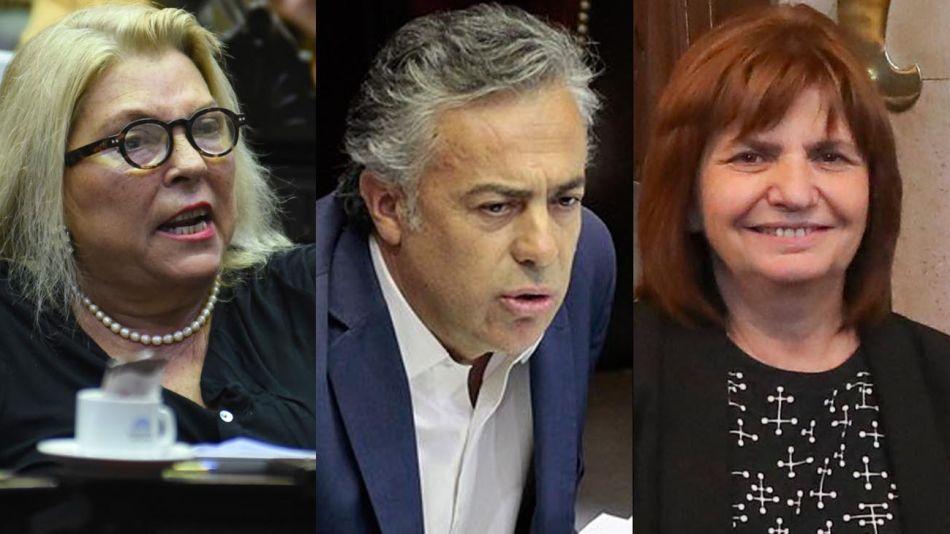 Elisa Carrió, Alfredo Cornejo, y Patricia Bullrich 20200910