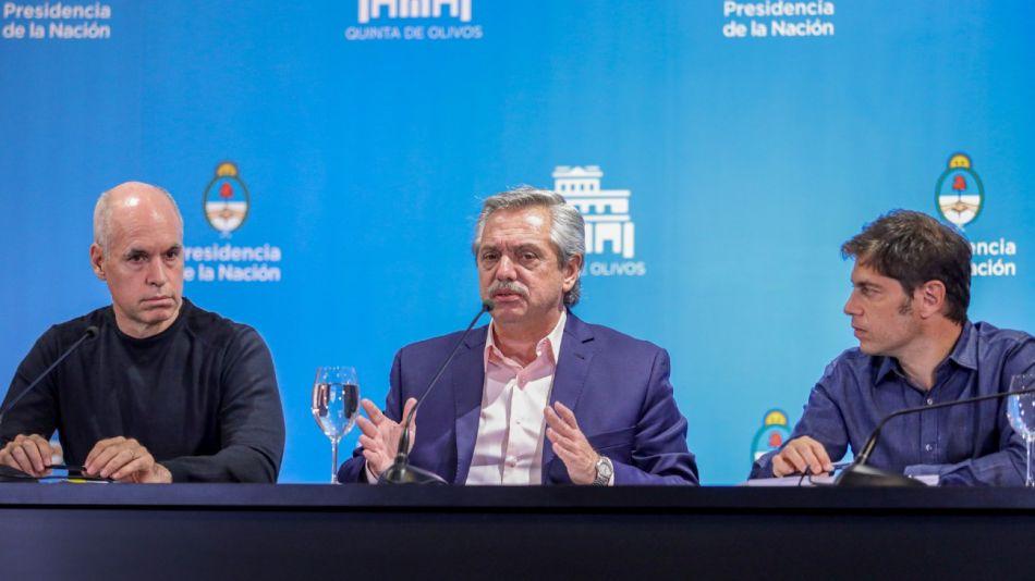 Horacio Rodríguez Larreta, Alberto Fernández y Axel Kicillof