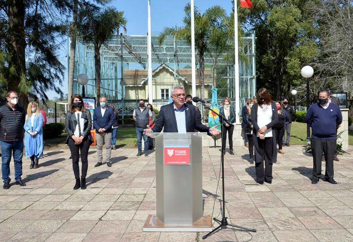 El intendente de Tigre encabezó el acto virtual desde el Museo Sarmiento.