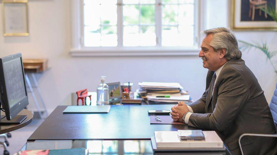 Archivo. Alberto Fernández en videoconferencia.