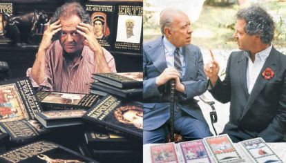 Ricci. A izq., el editor rodeado de sus creaciones. A der., junto a Borges, en Milán.