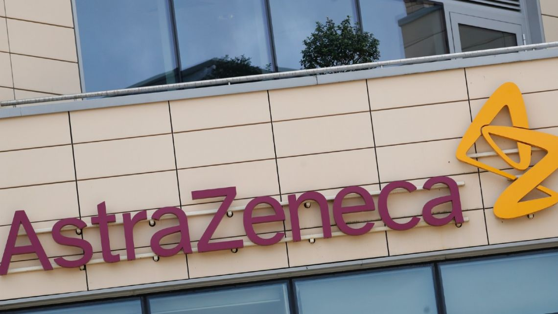 A general view of AstraZeneca offices and the corporate logo in Cambridge, England.