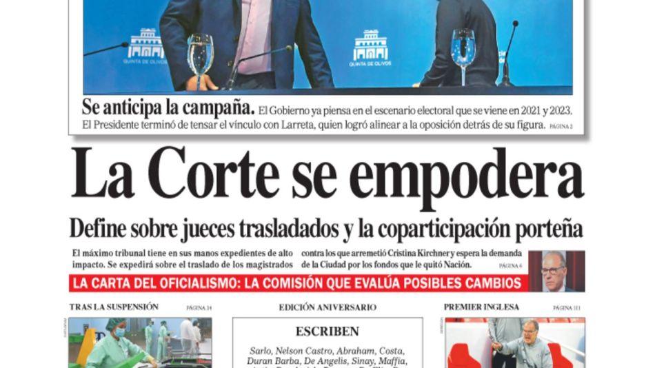 tapa Diario Perfil domingo 13 de septiembre de 2020.