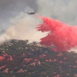 EE. UU., San Diego: Un avión de extinción de incendios lanza retardante para apagar las llamas que estallaron cerca de Forest Park Road como resultado de los incendios forestales. | Foto:K.C. Alfred / San Diego Union-Tribune vía ZUMA / DPA