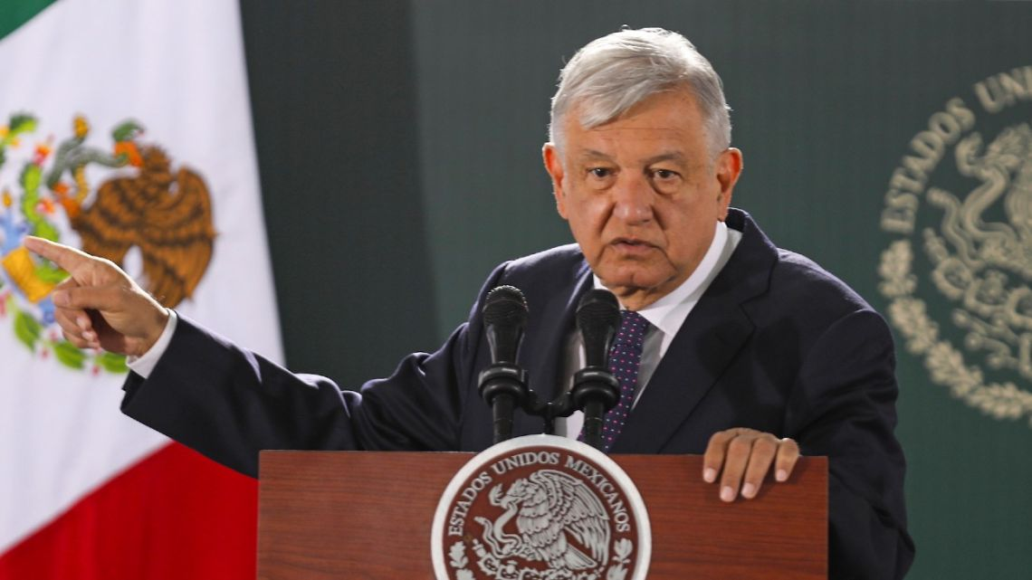 Mexican President Andrés Manuel López Obrador speaks during his daily morning press conference in Ciudad Juárez, Chihuahua State, Mexico.