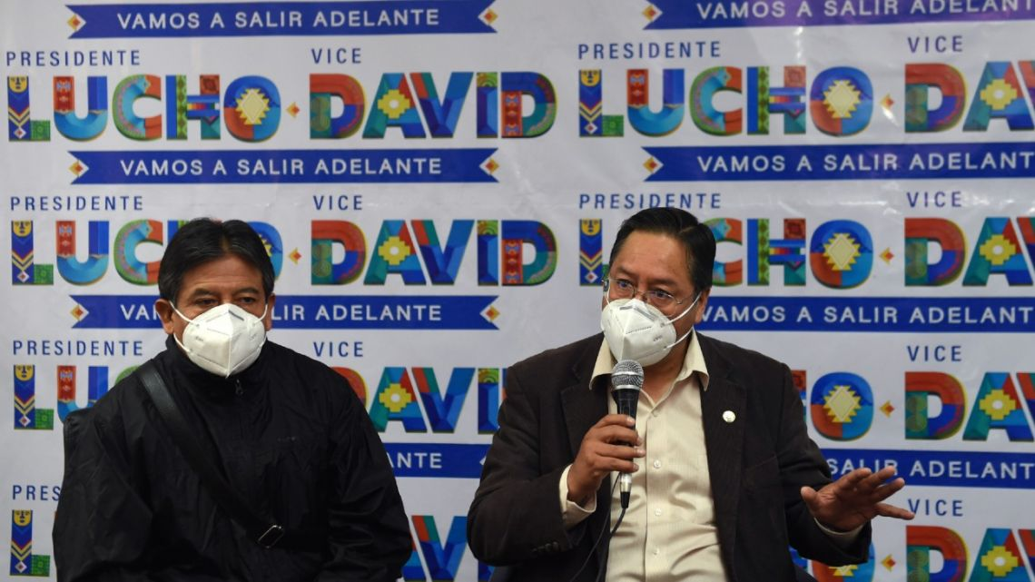 Bolivian presidential candidate for the Movement for Socialism (MAS) party, Luis Arce (right), speaks next to his running mate David Choquehuanca during a press conference in La Paz on September 14, 2020 ahead of the October 18 general elections.