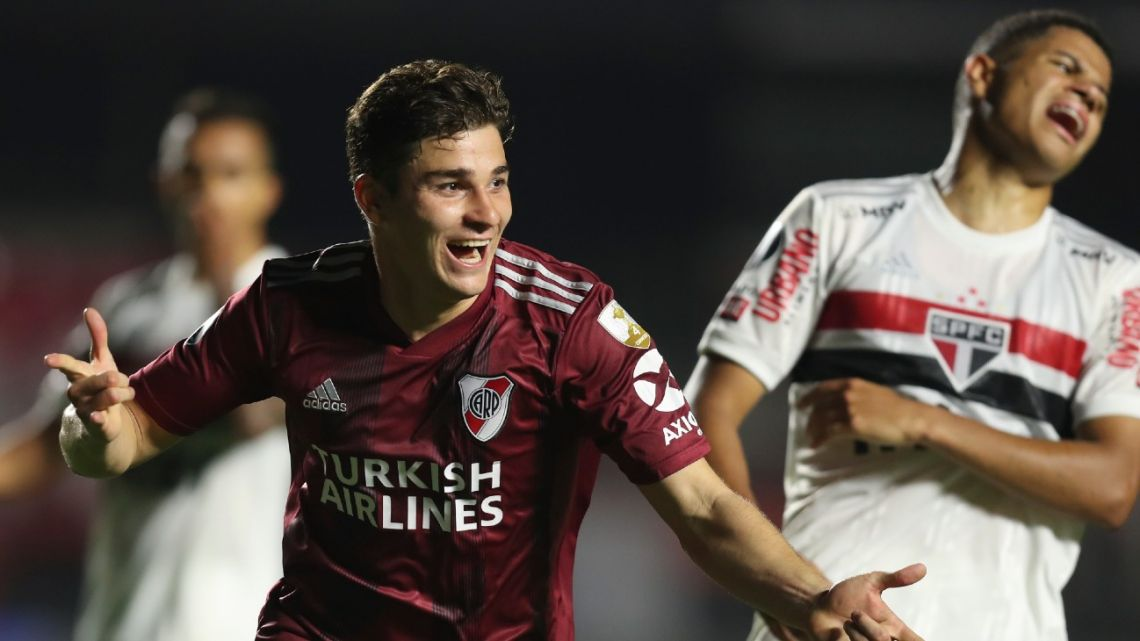 Julián Alvarez of River Plate celebrates scoring his side's second goal against Brazil's São Paulo during the Copa Libertadores Group D match at the Morumbi stadium in São Paulo, Brazil, Thursday, September 17, 2020.