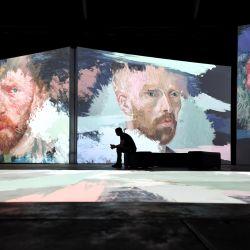 Las obras de arte se proyectan durante el estreno australiano de Van Gogh en el Royal Hall of Industries en Sydney. | Foto:DPA