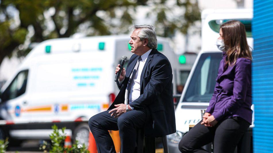 El presidente Alberto Fernandez encabezo este mediod?a el acto de presentacion de las obras de ampliacion y equipamiento para el Hospital Churruca Visca 20200918