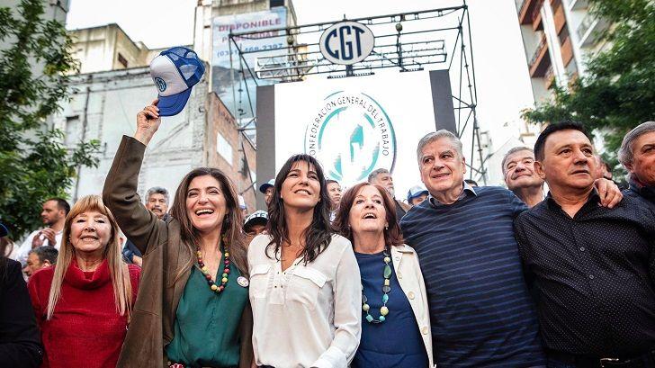 DISTANTES. Natalia de la Sota y Vigo el año pasado en el Día de la Lealtad invitadas por la CGT. Hoy, hay distancia.