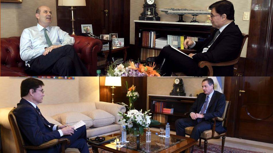 El mismo lugar, dos años después: reportajes a los presidentes del Banco Central: Sturzenegger y Pesce.