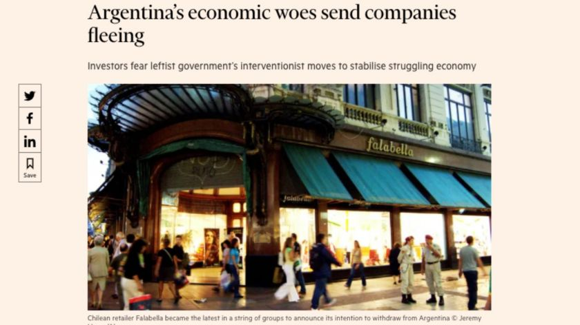 El Financial Times culpó al Gobierno de Alberto por la ida de las empresas del país