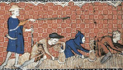 El señor feudal y sus subditos, miniatura del siglo VII.