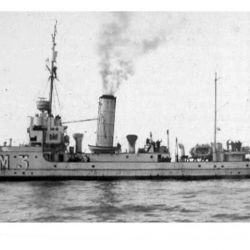 Vista del ARA Fournier que naufragó en 1949.
