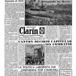 Así reflejaba el diario Clarín el hundimiento del Fournier, en septiembre y octubre de 1949.