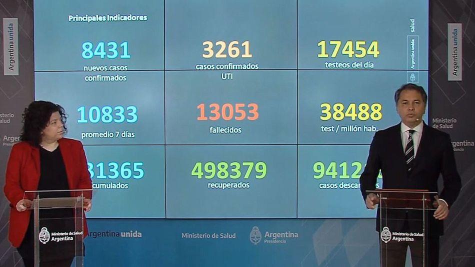 Carla Vizzotti y Alejandro Costa en el nuevo formato del informe del Ministerio de Salud