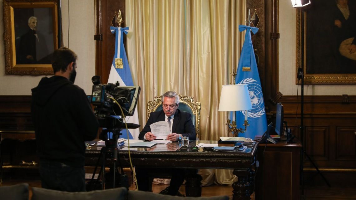 President Alberto Fernández records his broadcast to the United Nations at the Casa Rosada.