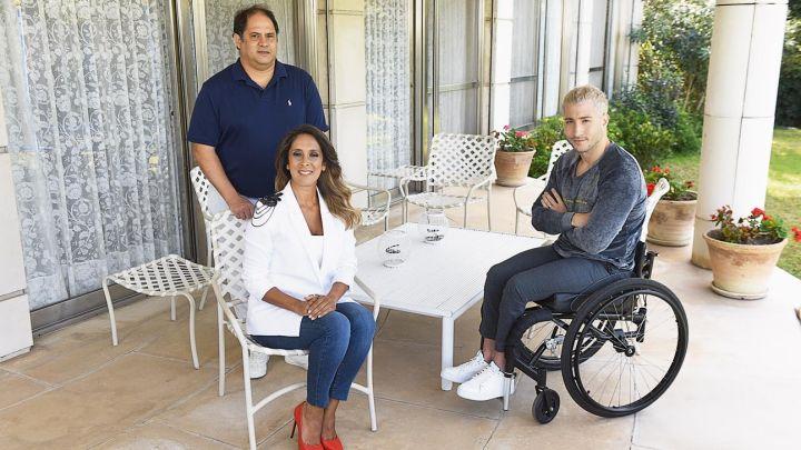 Vanesa y Felipe Noble Herrera, solidarios con el nadador Lucas Poggi