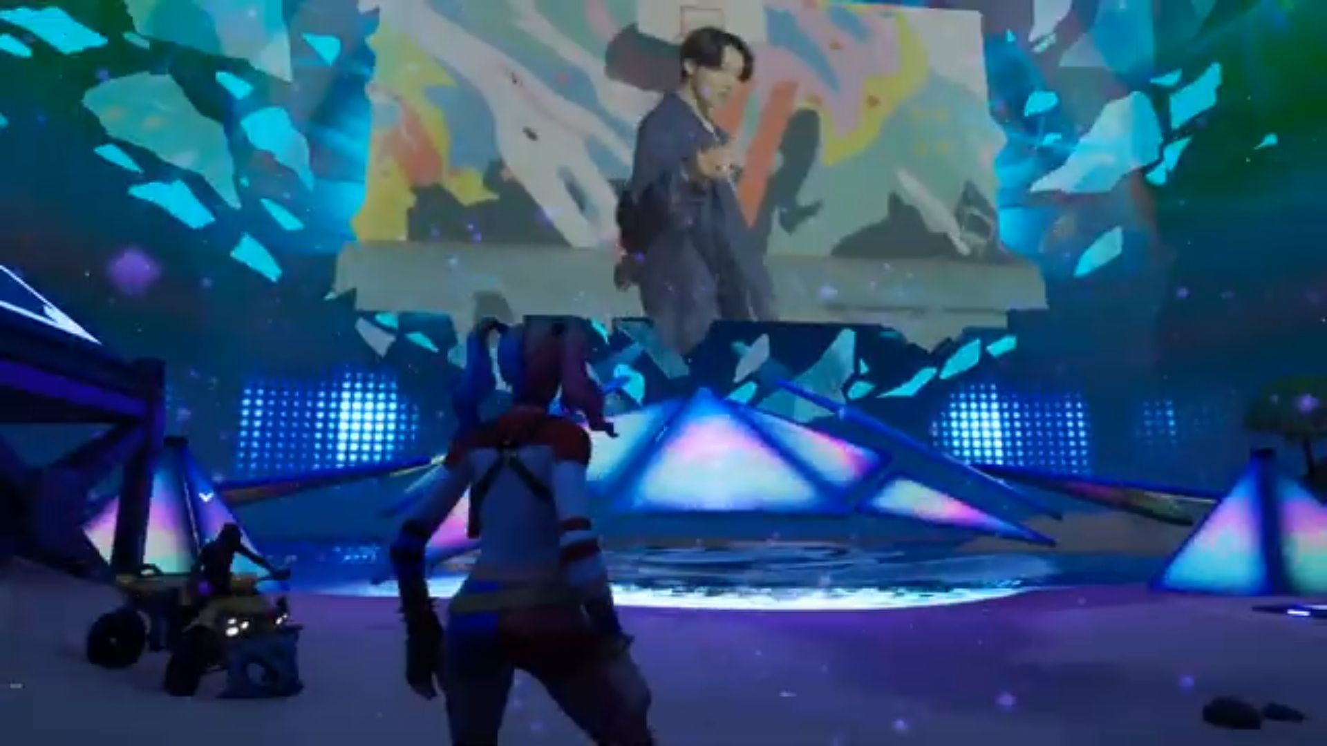 Así es el segmento que BTS tuvo en Fortnite este viernes 25 y que volverá hoy sábado 26 en su isla Battle Royale.