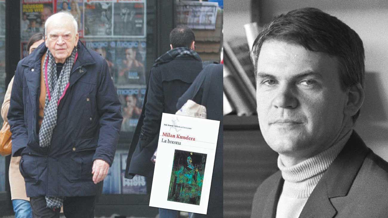 Ayer y hoy. Milan Kundera en octubre del año pasado, caminando por una calle parisina (izq). El escritor en 1968 (der), y la novela que lo lanzó a la fama, La broma.